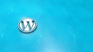Wordpress symbol close up - metal shape on blue, ice background. Render 3D.
