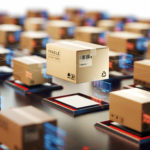 Packages are transported in high-tech Settings,online shopping,Concept of automatic logistics management.